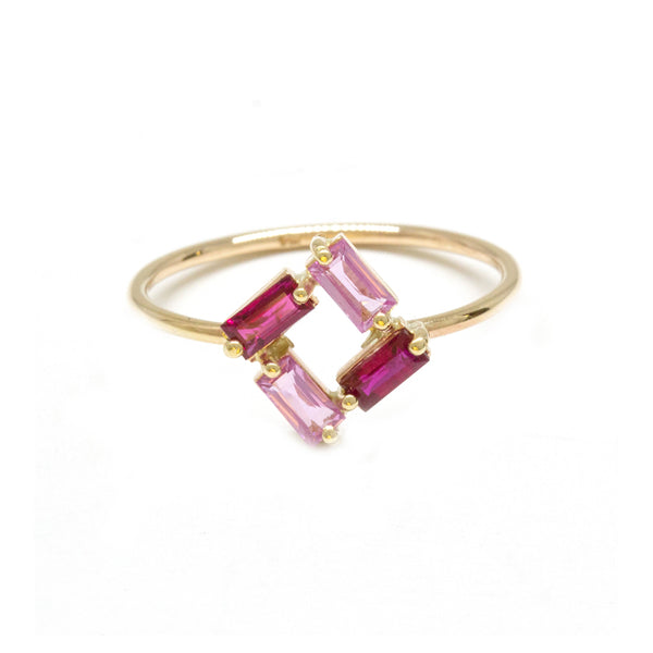 Ruby Pink Sapphire Square Baguette Ring