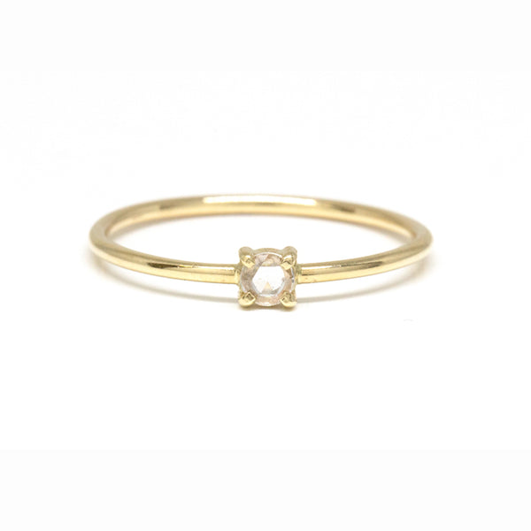 Rose Cut Diamond Solitaire Ring