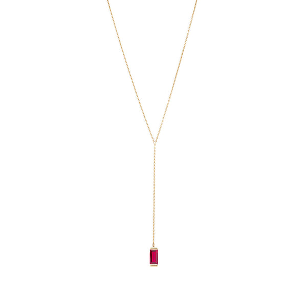 Gold Lariat Necklace with Ruby Baguette