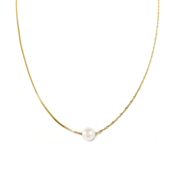 Contrast Chain Petite Pearl Necklace