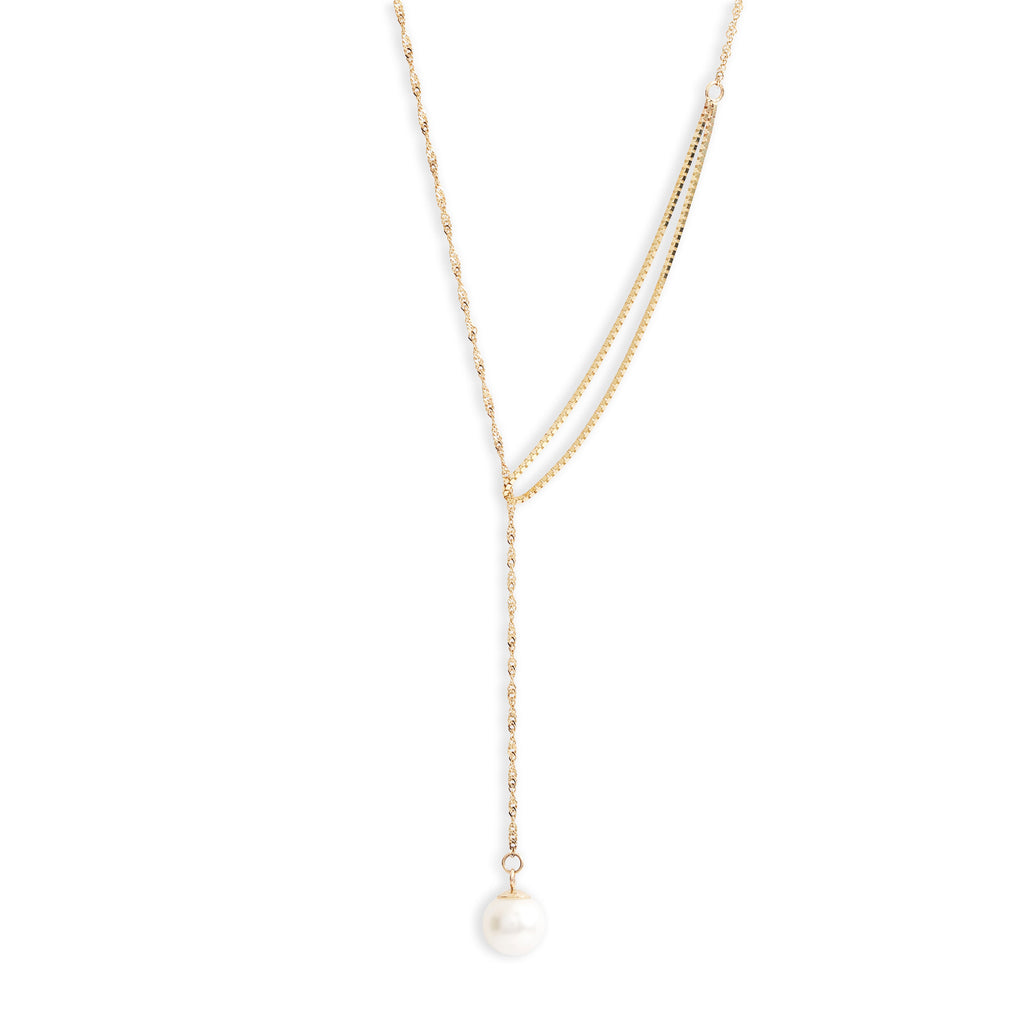 Shimmer Pearl Pull Through Necklace
