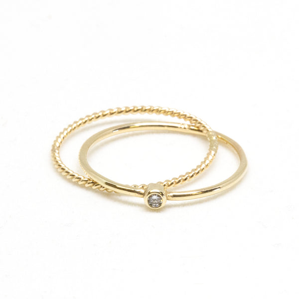 Skinny Baby Diamond Crisscross Ring