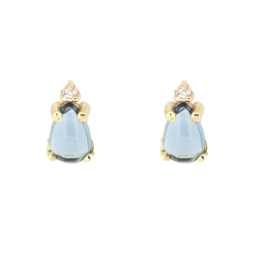 Blue Topaz Diamond Studs