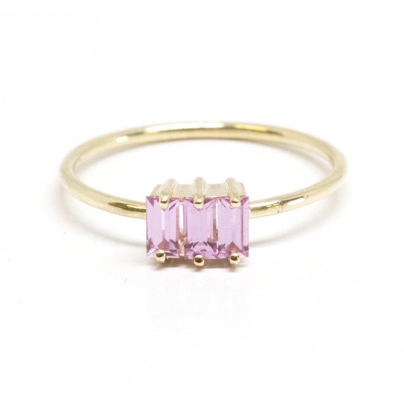 Triple Baguette Pink Sapphire Ring