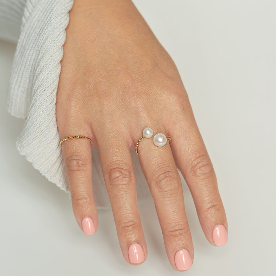 Twisted Double Pearl Open Ring