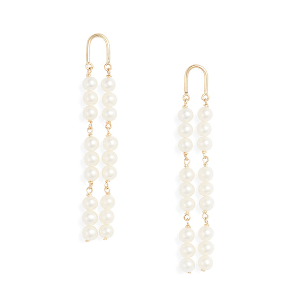 Gold Arch Triple Drop Pearl Earrings