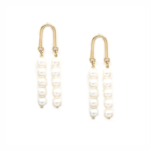Gold Arch Five Pearl Earrings