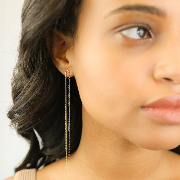18K Gold Arch Long Shimmer Earrings