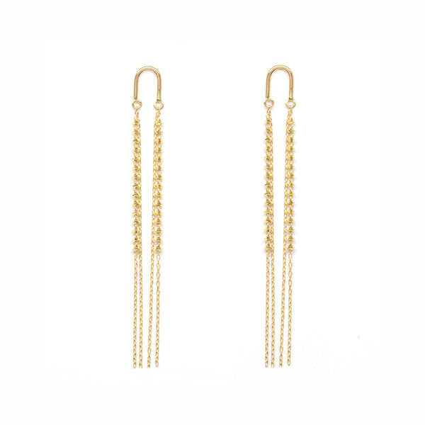 18K Gold Arch Short Shimmer Earrings