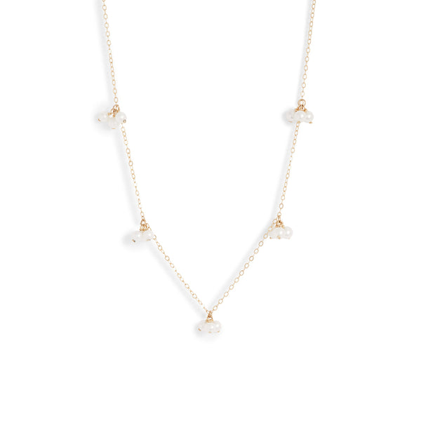 Baby Pearl Trio Gold Station Necklace