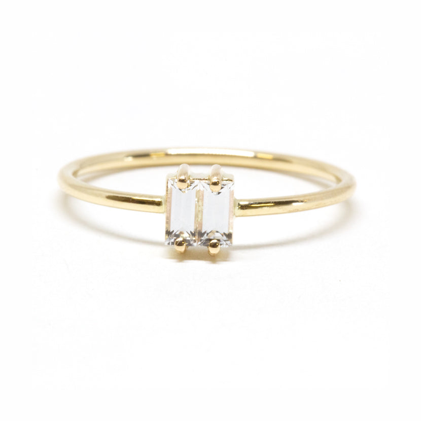 Double Baguette White Sapphire Ring