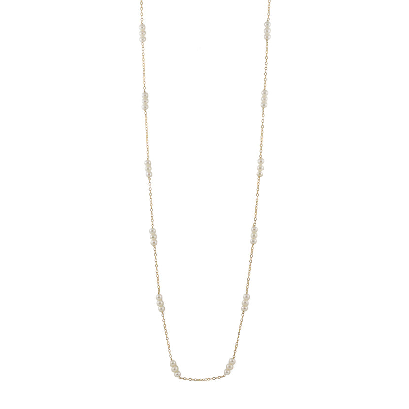 Triple Baby Pearl Long Strand Necklace