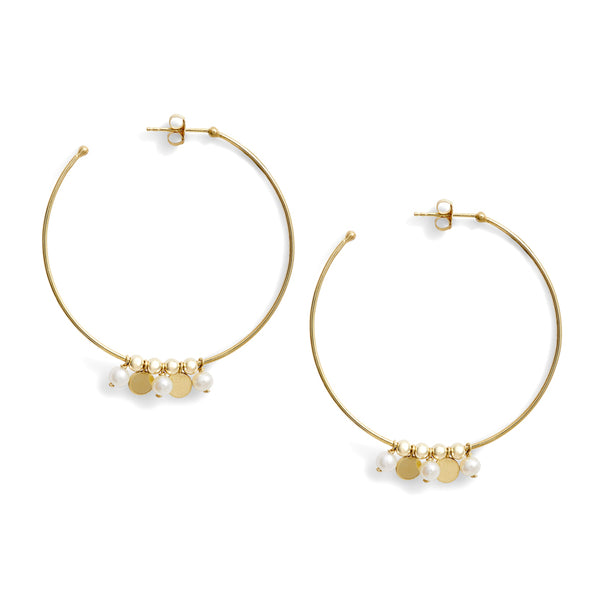 Pearl Gold Confetti Hoop Earrings