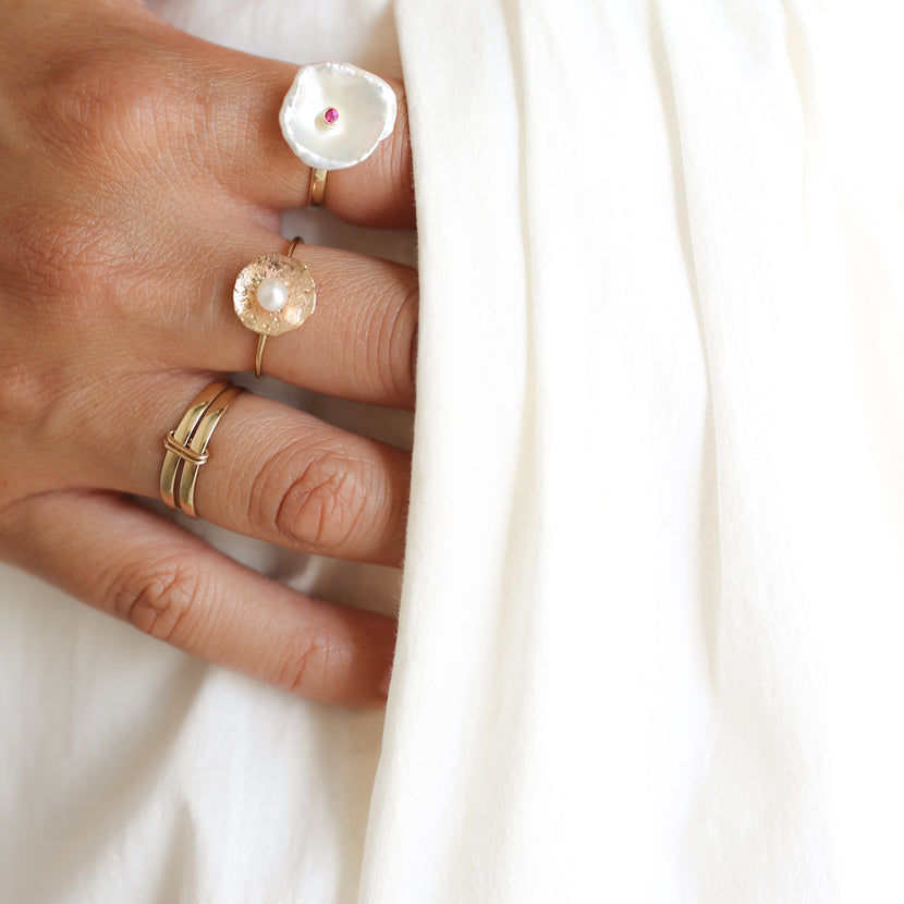 Gold Petal Pearl Ring