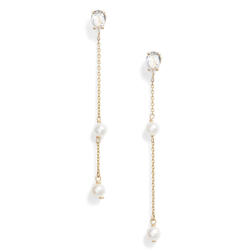 White Topaz Pearl Earrings