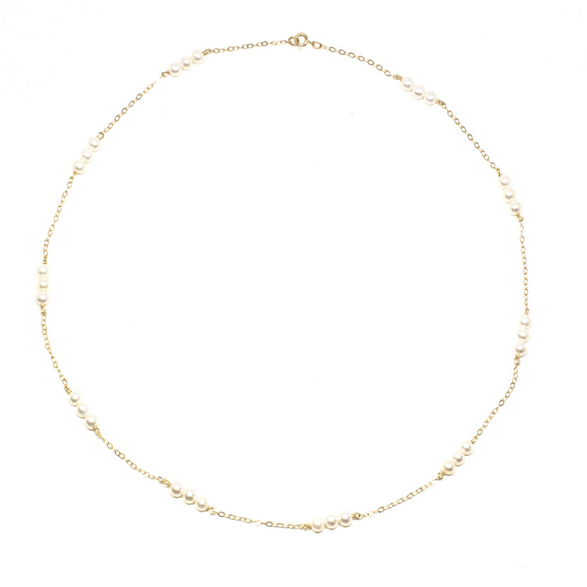 Triple Baby Pearl Short Necklace