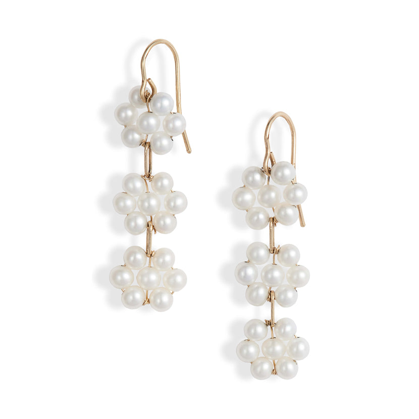 Triple Pearl Flower Drop Earrings