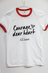 Courage, Dear Heart WHITE ringed t-shirt