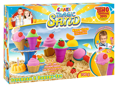 CRAZE MAGIC SAND ICE CREAM & BAKERY SET 700GR - Wild Willy - Toys Lebanon
