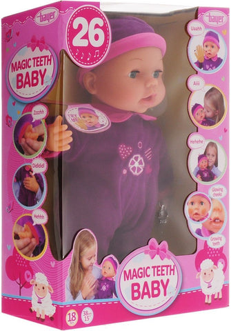 BAYER MAGIC TEETH DOLL 38CM 26FN PURPLE DRESS 18M+93842AE - Wild Willy - Toys Lebanon
