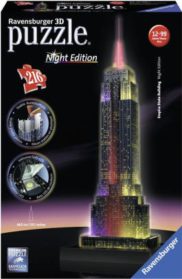 Empire State Building Night Edition 216 3D Puzzle - Wild Willy