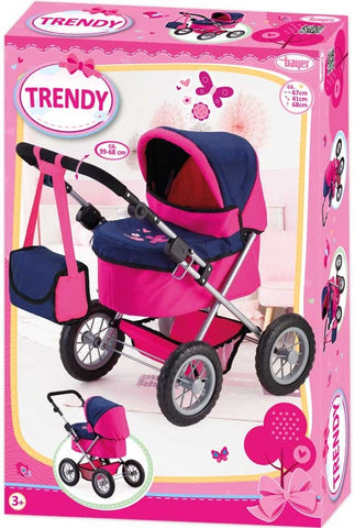 BA TRENDY PRAM 39-68CM 3Y+ PINK/BLUE - Wild Willy - Toys Lebanon