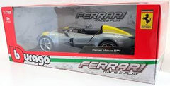 Bburago Ferrari Monza SP1 Silver Metallic with Yellow Stripes 1/18