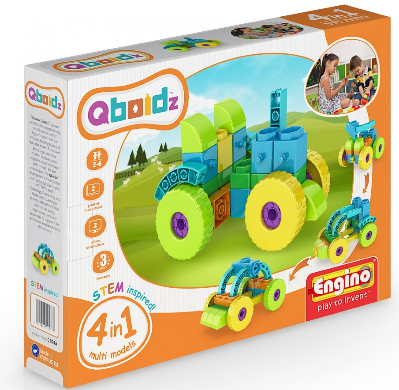 QBOIDZ 4 IN 1 MULTIMODELS TRACTOR QB04A - Wild Willy - Toys Lebanon