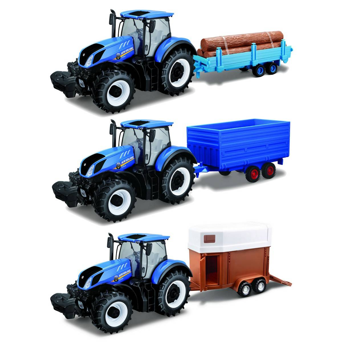 BU NEW HOLLAND FARM TRACTOR & TRAILER - Wild Willy - Toys Lebanon
