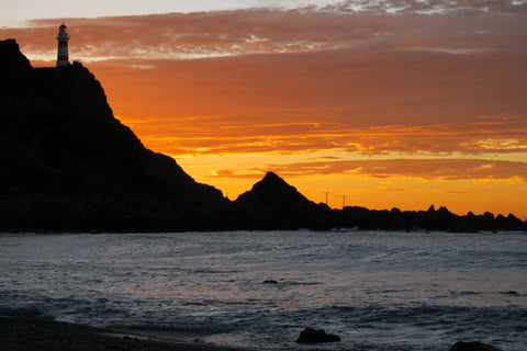 Canvas Print - Photo of a sunrise at Cape Palliser, New Zealand