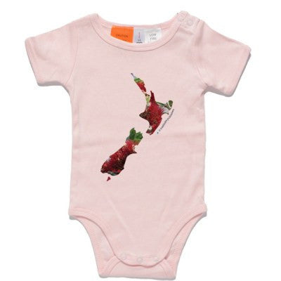 Pohutukawa Map of New Zealand - on Pink One Piece