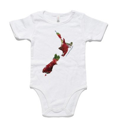 Pohutukawa New Zealand Map - White Baby One Piece