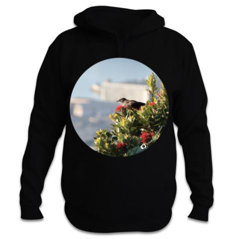 Black NZ Hoodie - Photo of a Tui and Pohutukawa