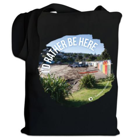 "Photo of a Black NZ Canvas Bag - ""I'D Rather Be Here"""