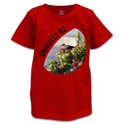 Red NZ Children's T-Shirt - Photo of a Tui