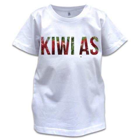 Photo of a white childrens t-shirt, Pohutukawa Kiwi As