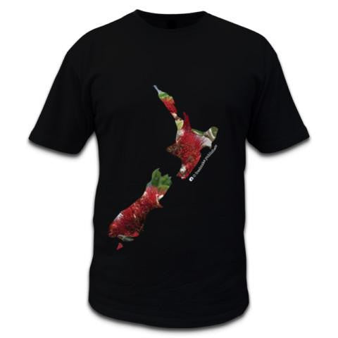 Photo of NZ Mens Black T-shirt - Pohutukawa Map of NZ