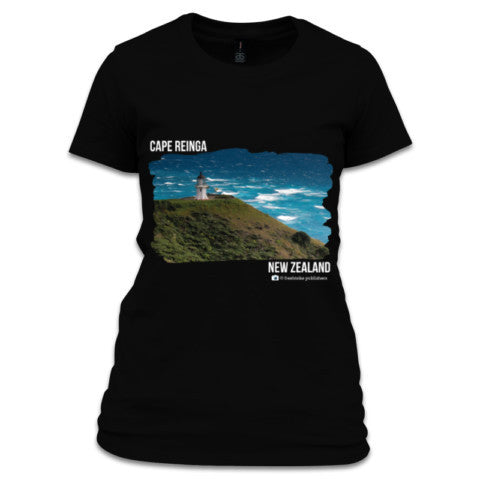 Black NZ Women's T-Shirt - Photo of Cape Reinga, NZ
