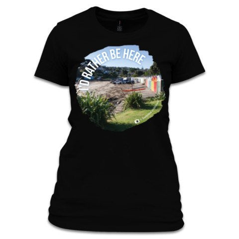 "Photo of Beach scene ""I'd rather be here"" black t-shirt"