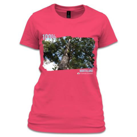 Women's Fuschia NZ T-Shirt - A photo of a Kauri Tree
