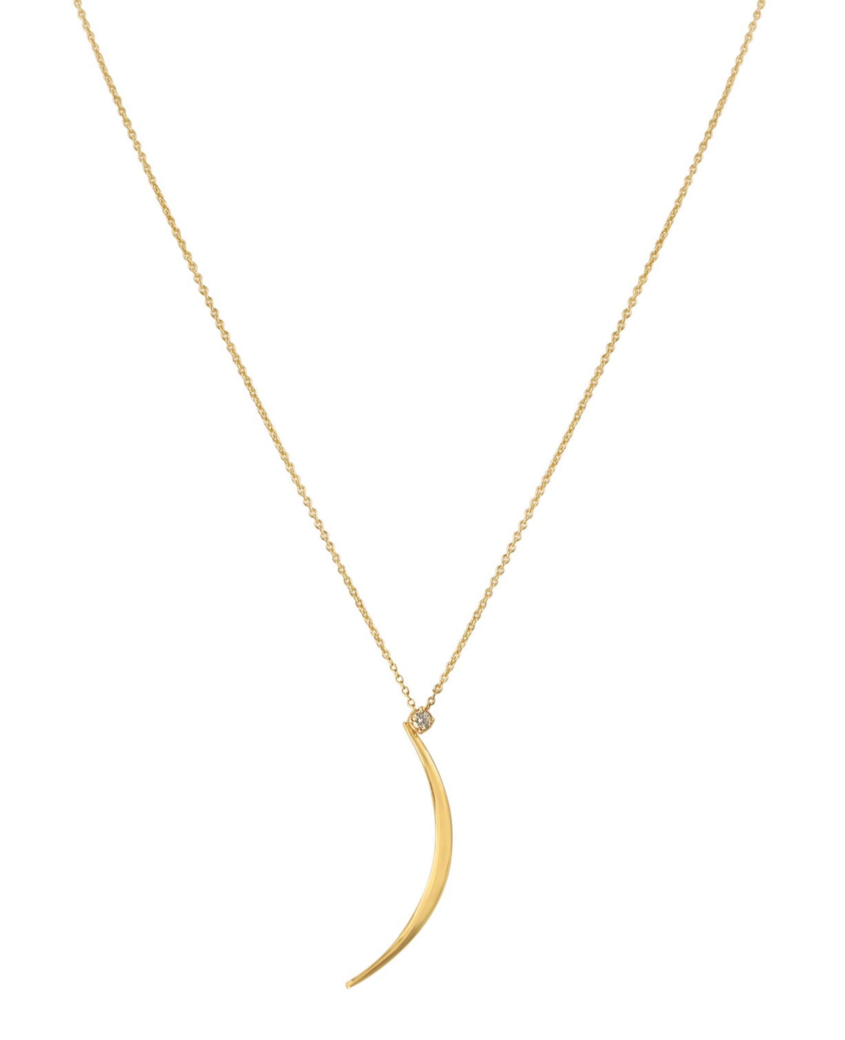 Crescent Single Diamond Necklace
