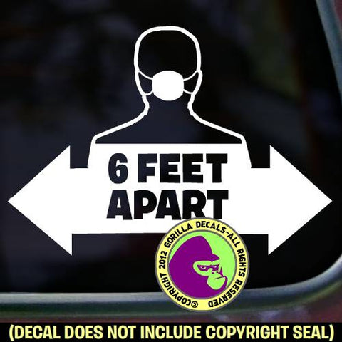 6 FEET APART MASK ARROW-  Medical Covid-19 Coronavirus Retail Vinyl Decal Sticker