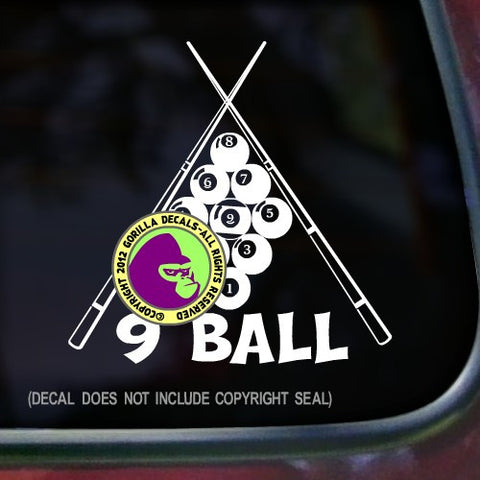 9 BALL POOL Billiards Vinyl Decal Sticker