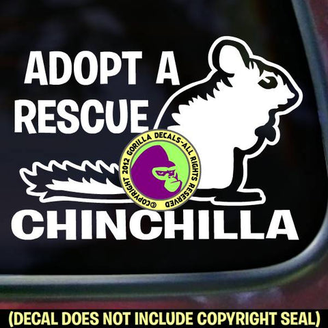ADOPT A RESCUE CHINCHILLA Pet Vinyl Decal Sticker