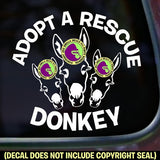 ADOPT A RESCUE DONKEY Vinyl Decal Sticker