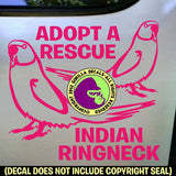 ADOPT A RESCUE INDIAN RINGNECK Parakeet Vinyl Decal Sticker