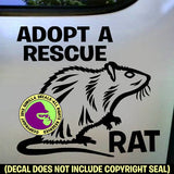 ADOPT A RESCUE RAT Pet Rats Vinyl Decal Sticker