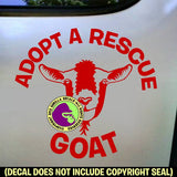 ADOPT A RESCUE GOAT Vinyl Decal Sticker