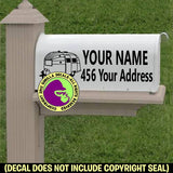 Airstream MAILBOX Set - ADD YOUR NAME & ADDRESS Vinyl Decal Sticker