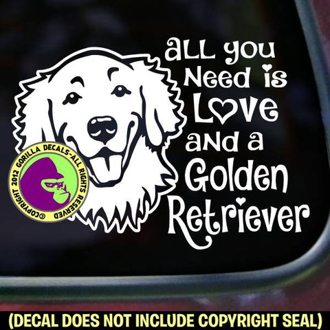 GOLDEN RETRIEVER - All You Need Is Love - Dog Vinyl Decal Sticker